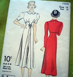 1930s Vintage Sewing Pattern DuBarry 1939B Dress by SelvedgeShop, $24.00 PAT!!!! Yes please & thank you :)