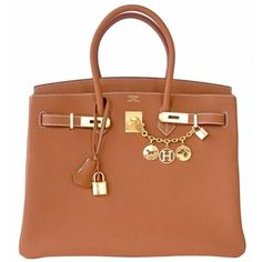 Pre-Owned Hermes Gold Camel Togo 35cm Birkin Bag Gold Hardware (317.600 ARS) ❤ liked on Polyvore featuring bags, handbags, pre owned handbags, colorful handbags, summer handbags, multi color purse and gold handbags