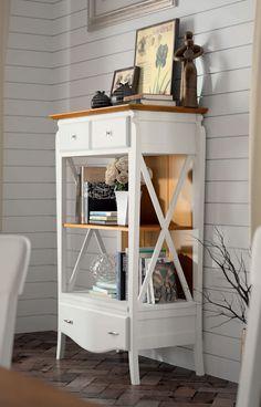 #Librero #clásico en color blanco con encimera en color cerezo, capacidad para libros y cajones para objetos del hogar pequeños, mas en nuestra web: http://www.rusticocolonial.es/mueble-clasico/muebles-de-sal%C3%B3n-cl%C3%A1sicos/aparadores-cl%C3%A1sicos/results,21-20