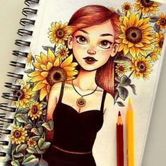 Something like this where there is a girl surrounded by flowers