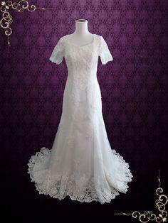 Bohemian LDS Lace Wedding Dress with Sleeves | Kate, #ModestWeddingDress http://www.ieiebridal.com/collections/modest-wedding-gowns