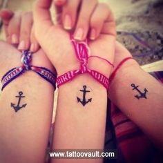 Anchor tattoo design on wrist
