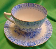 Vintage Germany Bavaria SELTMANN WEIDEN White & Blue cup & saucer 1924 - 1946