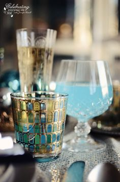 Blue & Green vintage glasses at A Sparkling Peacock Blue Happy New Year's Eve Party!