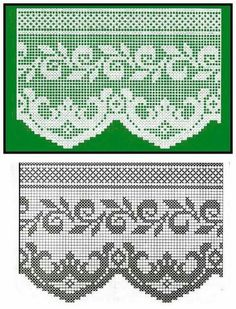 World crochet: Crocheted lace 31 Filet Crochet, Crochet Patterns Filet, Crochet Lace Edging, Crochet Borders, Crochet Flower Patterns, Crochet Diagram, Crochet Chart, Love Crochet, Irish Crochet
