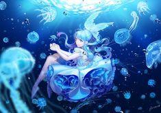 Underwater - briska, girl, summer, blue, manga, jellyfish, underwater, anime