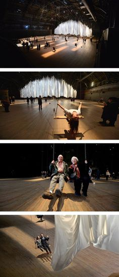 The giant curtain dances as people swing.
