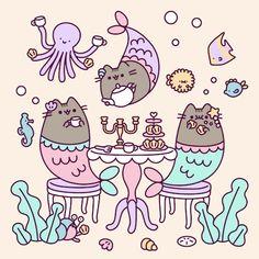 ^ I want to be, under the sea. In an octopus 🐙 garden with Pusheen and you! Me-ow! Gato Pusheen, Pusheen Love, Pusheen Unicorn, Kawaii Drawings, Cute Drawings, Animal Drawings, Drawing Animals, Cat Wallpaper, Animal Wallpaper