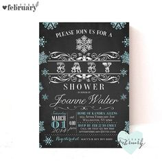 Winter Baby Shower Invitation  Glitter Blue by AfterFebruary
