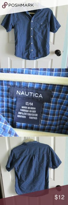 Kids Blue and Black Plaid Button Down Shirt This is a nice shirt for a dressy occasion for one of your kids! This is excellent used condition! Make an offer? Bundle to save! Nautica Shirts & Tops Button Down Shirts