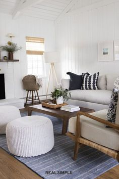 30 Easy and Unique Living Room Decorating Ideas | Get clever about how you add ample seating to a living room, especially if you love to entertain. Mackenzie & Co. uses poufs and benches for flexible seating that can be moved around as needed—or serve as an impromptu footrest. #realsimple #livingroomdecor #livingroomideas #details #homedecorinspo Footrest, Real Simple, Poufs, Benches, Living Room Decor, Clever, Decorating Ideas, Interiors, Unique