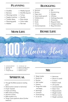 100+ Bullet Journal Collection Ideas (this is a HUGE list and a free printable that you can pop in your planner if you want!).