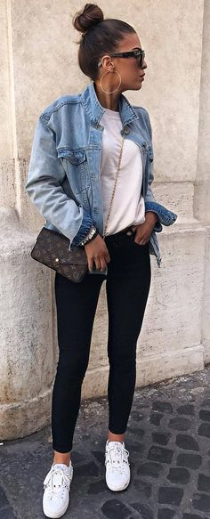 what to wear with a denim jacket : bag top black skinnies sneakers