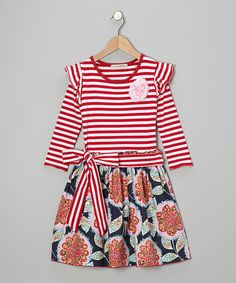 Red & Navy Melissa A-Line Dress - Toddler & Girls | Daily deals for moms, babies and kids