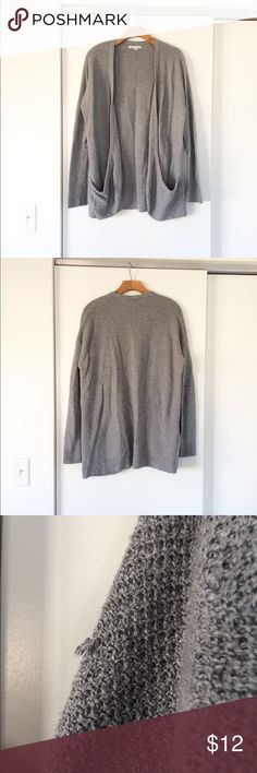 AE Gray Waffle Knit Comfy Draped Cardigan Sweater Light general wear w/ some pulled threads, still looks great! See all pics American Eagle Outfitters Sweaters Cardigans