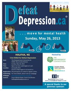 For more information visit: www.defeatdepression.ca/halifax Fundraising Events, Nova Scotia, Mental Illness, Depression, Health, Salud, Health Care, Healthy