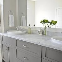 Gray cabinets with Carerra marble counter top - next house...