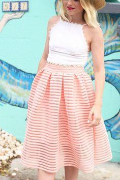 Crochet Crop Top and Pink Midi Skirt at Poor Little It Girl - @poorlilitgirl