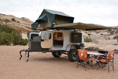 MOBY1 XTR Designed for rugged off-roading and outdoor adventure, this sturdy Bear Grylls of trailers rocks a reinforced frame and heavy-duty, trailing A-arm coil spring suspension. But the Moby 1 isn't all military-style brawn; the interior features built-in speakers, A/C, hardwood cabinetry, fridge/freezer, and a rooftop tent with, no joke, heated beds.