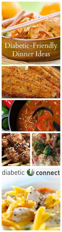 Are you in a dinner rut? Here are some new diabetic-friendly dinner ideas you can try tonight. With recipes for Orange-Scented Beef Stir-Fry, Garlic-Chile Flank Steak, Beef & Portobello Mushroom Stroganoff, Foiled-Baked Asian Chicken and more! Dinner doesn't have to be difficult. This collection offers something for everyone in the family. diabeticconnect.com #diabetesrecipes #diabetesfriendly