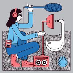 "Illustration by Martina Paukova, martinapaukova.com ""Everything You Need to Know Before Starting a Design Podcast"" AIGA"