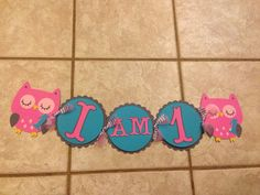 Gray hot pink and teal owl first birthday by sparklepaperscissors, $32.00