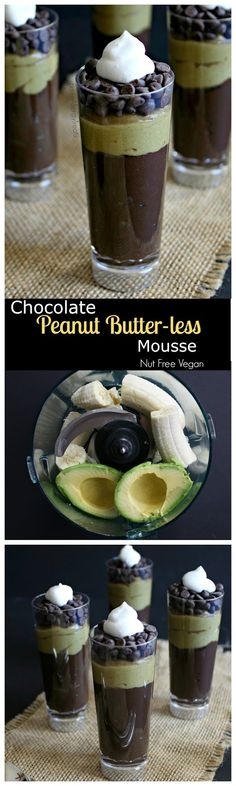Chocolate Peanut Butter -less Mousse (Vegan Dairy Free Nut Free)- Decadent chocolate mousse made from avocado and banana and seed butter- no nuts