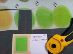 Color sample cut from silk and taped onto info card
