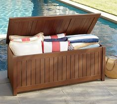 Shop Pottery Barn for durable and stylish wooden outdoor furniture. Browse our Chatham Outdoor Collection and find dining tables, chairs and sofas, perfect for any patio. Pool Storage, Outdoor Storage, Barn Storage, Storage Trunk, Outdoor Lounge Furniture, Outdoor Decor, Outdoor Living, Deck Furniture, Outdoor Ideas