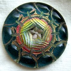 Czech Glass Button - Teal & Pink Mirror Back w/ Floral Needle Work Motif  - 30mm