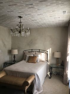 Faux brick and plaster walls...French Country dream room!