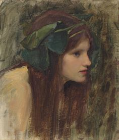 John William Waterhouse – Female head study for 'A Naiad', c.1892, Oil on canvas, 30x26 cm