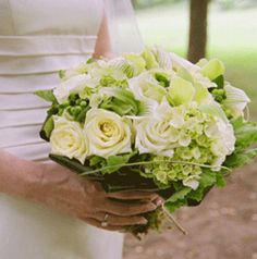 Ultra Elegant Bridal Bouquet With: Green Snowball Viburnum, White Hydrangea, White Roses, Ivory Roses,  Green Orchids, Green/White Lady's Slipper Orchids, Green Hypericum Berries, Greenery + Foliage >>>>