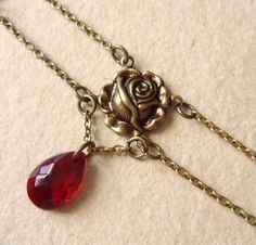 Red rose choker  vampire romantic christmas gift for by Boitifole, $35.00