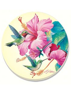 Ruby Throated Hummingbird & Hibiscus Drink Coaster Gift Set