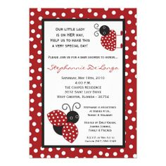 5x7 red crimson lady bug baby shower invitation