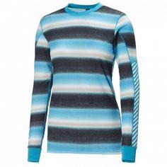 Helly Hansen Women s Active Flow Long Underwear Top Frozen Blue Multi  Square L 19111efc24