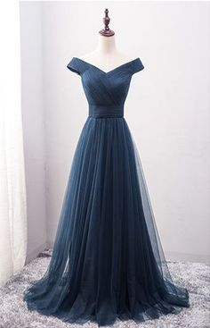 New Arrival A-Line Off-Shoulder Navy Blue Tulle Long Prom Dress
