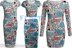 Womens TUNIC MIDI Dress Lucky Love Slogan Text Leggings Ladies Bodycon Crop Top
