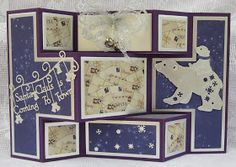 Tattered Lace Dies: Polar Bear shutter card by Brenda Tattered Lace Cards, Shutters, Polar Bear, Christmas Cards, Gallery Wall, Paper Crafts, Frame, Type, Halloween