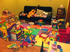 Very colourful and different kinds of toys stimulate children to come and play in nursery.