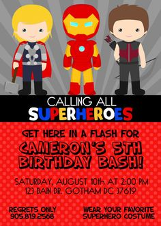 AVENGERS Birthday Invitation SUPERHEROES by KawaiiKidsDesign