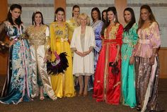 RABAT, MOROCCO - APRIL 04: Camilla, Duchess of Cornwall poses with models in traditional kaftans as she visits Villa des Arts Rabat on day one of a three day visit to Morocco on April 4, 2011 in Rabat, Morocco. Camilla, Duchess of Cornwall, and Prince Charles, Prince of Wales, are on a three day trip to Morocco as part of a tour to Portugal, Spain and Morroco. (Photo by Chris Jackson/Getty Images) 2011 Getty Images