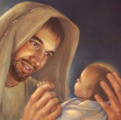 Joseph's Lullaby I heard this song on the radio and thought it was amazing. For me and I think a lot of us, Joseph gets lost in the H. Pictures Of Christ, Church Pictures, Religious Pictures, Religious Art, Mary And Jesus, God Jesus, Baby Jesus, Catholic Quotes, Catholic Prayers