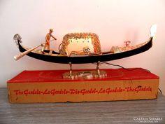 Retro Velencei souvenir Gondola dobozában