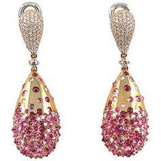 Jona Pink Sapphire Ruby Diamond Drop Earrings | From a unique collection of vintage drop earrings at https://www.1stdibs.com/jewelry/earrings/drop-earrings/