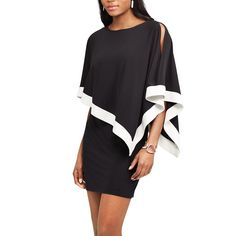 Women's Chaps Sequin Cold-Shoulder Chiffon-Overlay Evening Dress, Size: Medium, Black