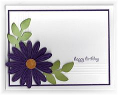The card - flower is a SU stamp and punch, leaves are a die cut. I embossed some lines at the bottom and the left side for a bit of a ...