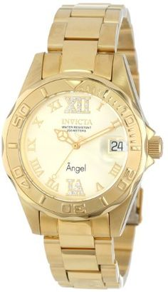 Invicta Womens 14397 Angel Analog SwissQuartz Gold Watch >>> Details can be found by clicking on the image.