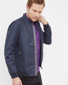 Mouliné bomber jacket - Navy   Jackets & Coats   Ted Baker UK